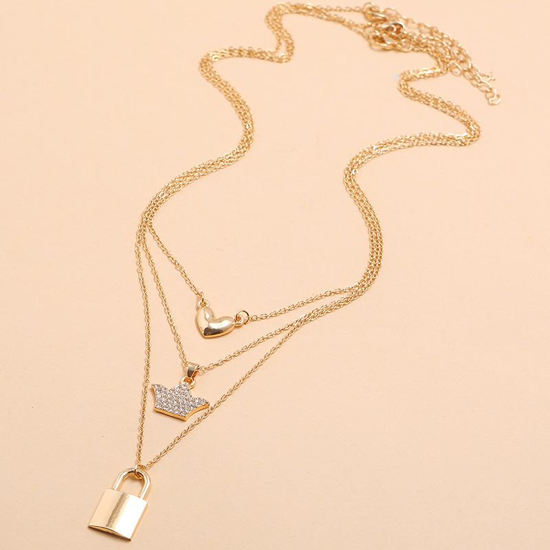 Korean multi-layer simple geometric creative alloy necklace fashion diamond love crown lock necklace wholesale nihaojewelry NHKQ231988