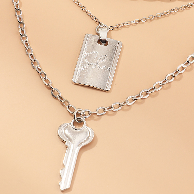 Fashion geometric letter double-layer simple alloy retro key necklace for women nihaojewelry NHNZ239508