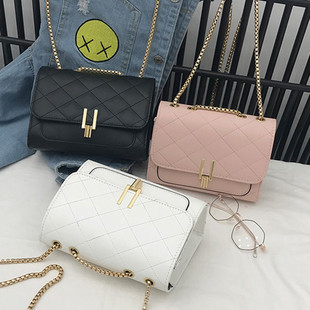 The new small square bag 2020 Korean fashion rhombic Y-lock chain one-shoulder messenger backpack women