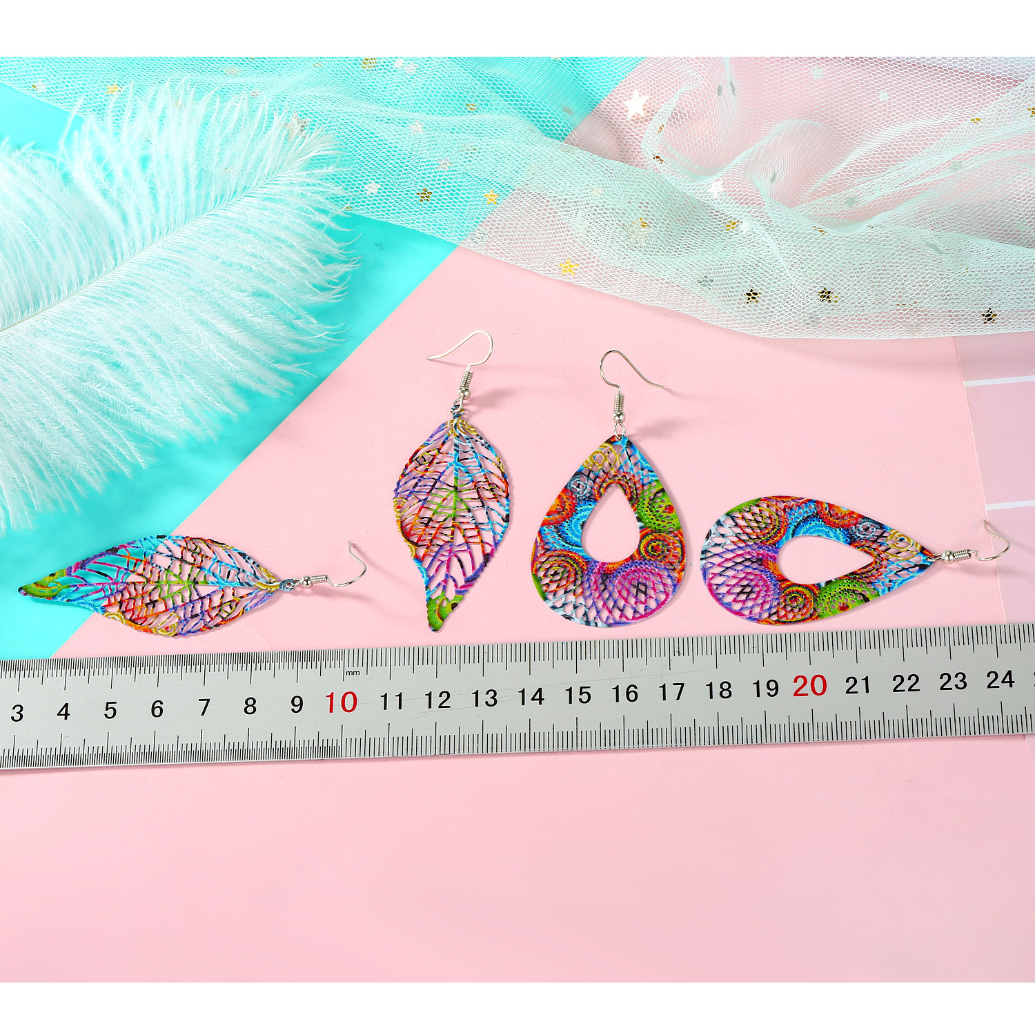 color leaf iron ear hook computer piece feather earrings printing hollow earrings wholesale NHGO217521