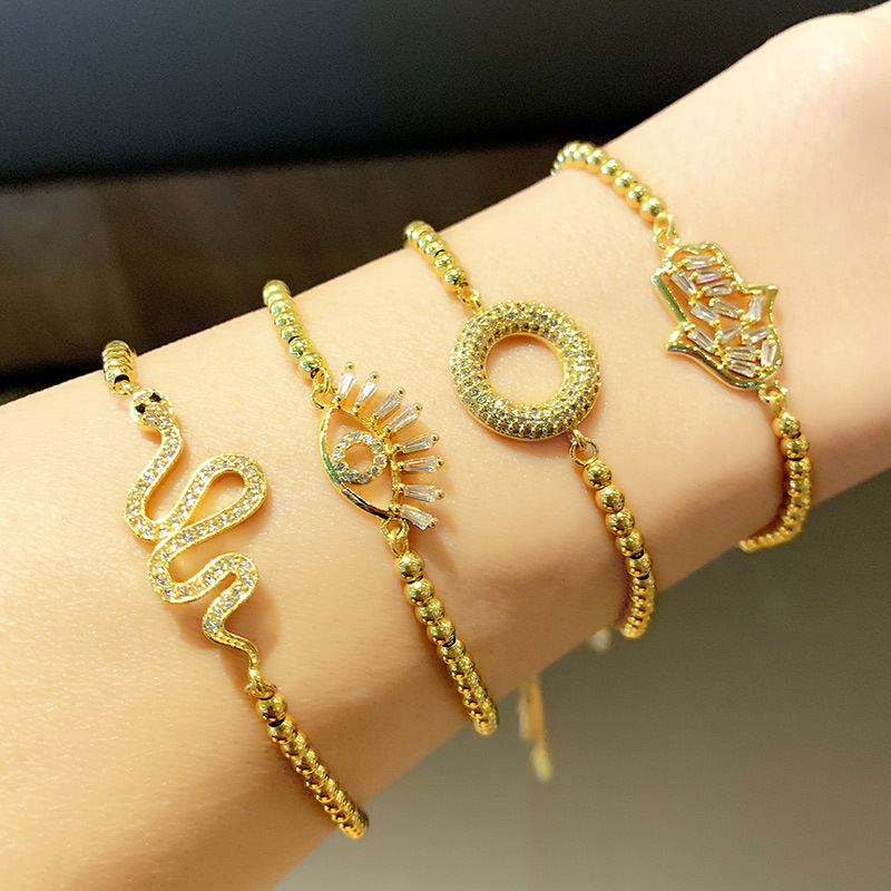 Fashion Bracelet Wholesale Micro Inlaid Color Zirconia Snake Bracelet Adjustable Bracelet NHAS199423