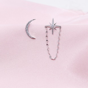 Bolinya Factory Outlet Whole Body 925 Sterling Silver Star and Moon Earrings Eight-pointed Star Chain Stud Earrings BJH120-1