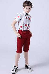 Summer new boys' casual suit, middle and small children's rose flower shirt shorts, two-piece suit