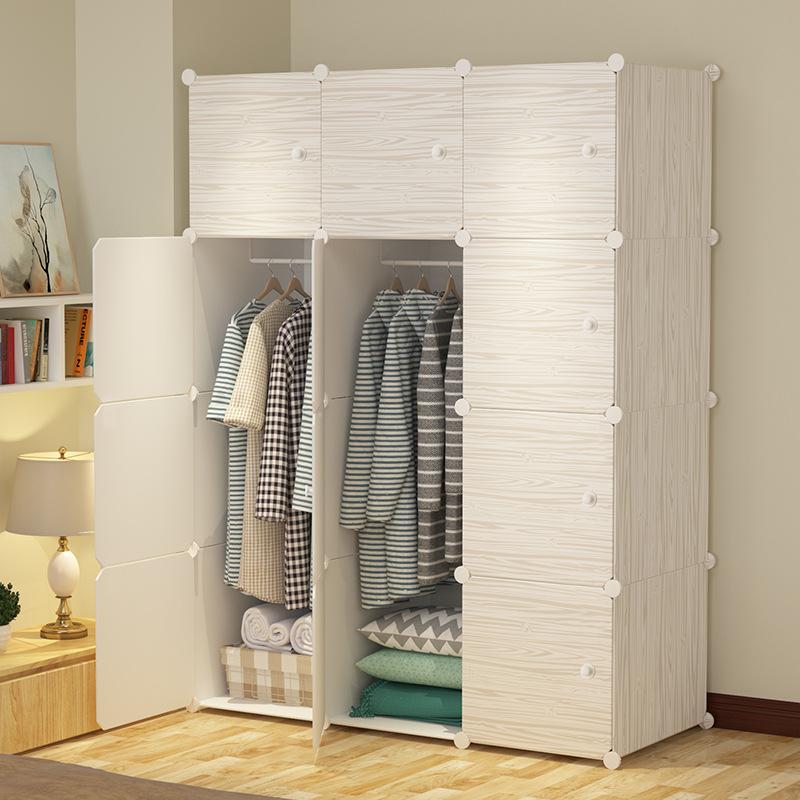 简易衣柜简约现代经济型树脂塑料收纳衣橱柜组合鞋柜仿真木纹衣柜