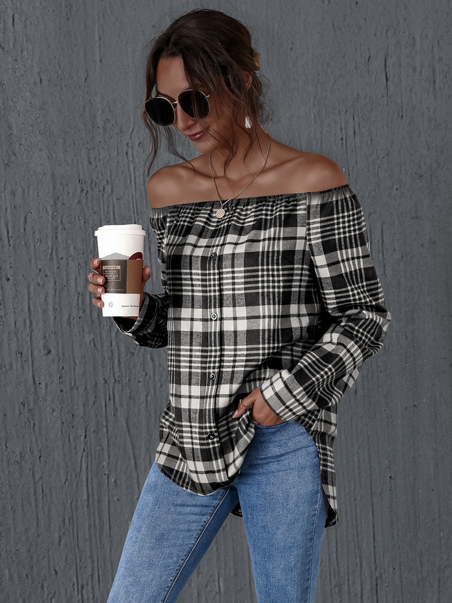 hot sale autumn and winter checkered collar long-sleeved ladies top NSAL1918