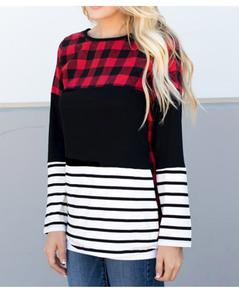 women's autumn new striped stitching round neck long-sleeved T-shirt  NSSI2323