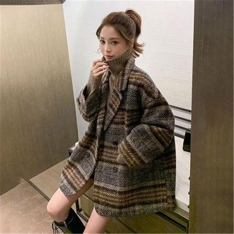 西装外套女秋冬2020新款宽松小个子格子粗花呢中长款加厚毛呢大衣