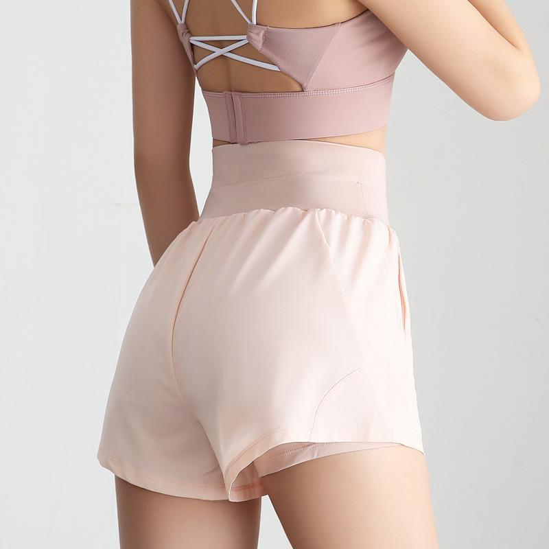 新款春夏少女跑步運動短褲瑜伽服女網紗修身新品瑜伽褲健身服短褲