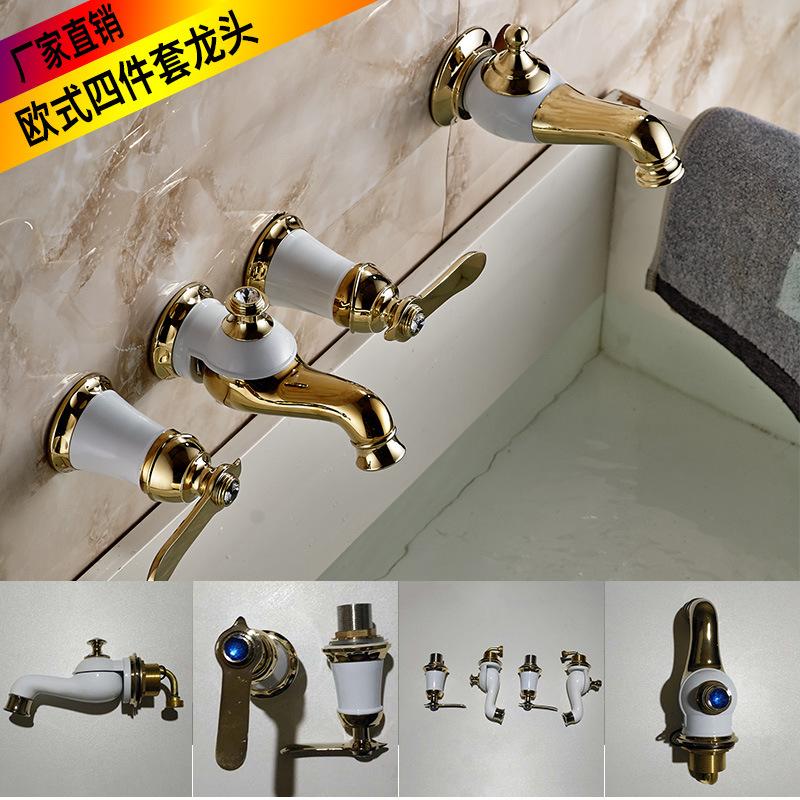 浴室柜洗脸盆欧式金色双盆四件套抽拉分体式组合面盆三四孔水龙头