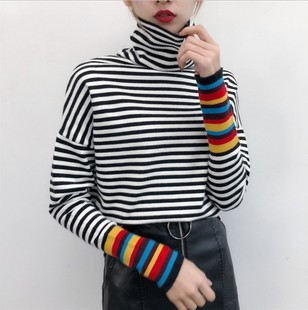 Japanese fall/winter turtleneck black and white striped loose pullover sweater women stitching rainbow stripe slimming knit sweater