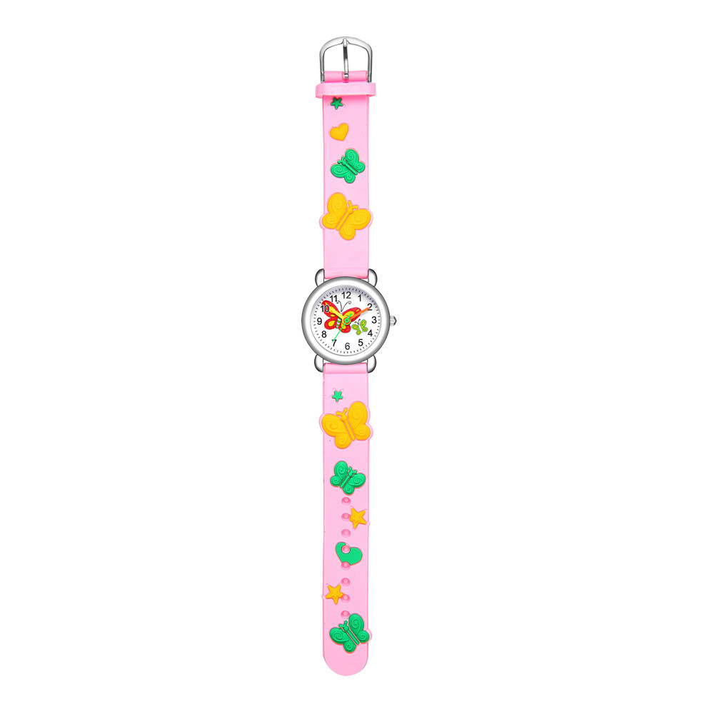 Children's watch cute butterfly pattern quartz watch color butterfly plastic band student watch NHSS200485