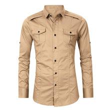 2020男装长袖衬衫欧美男士衬衫亚马逊爆款工装外贸衬衫男衬衣长袖