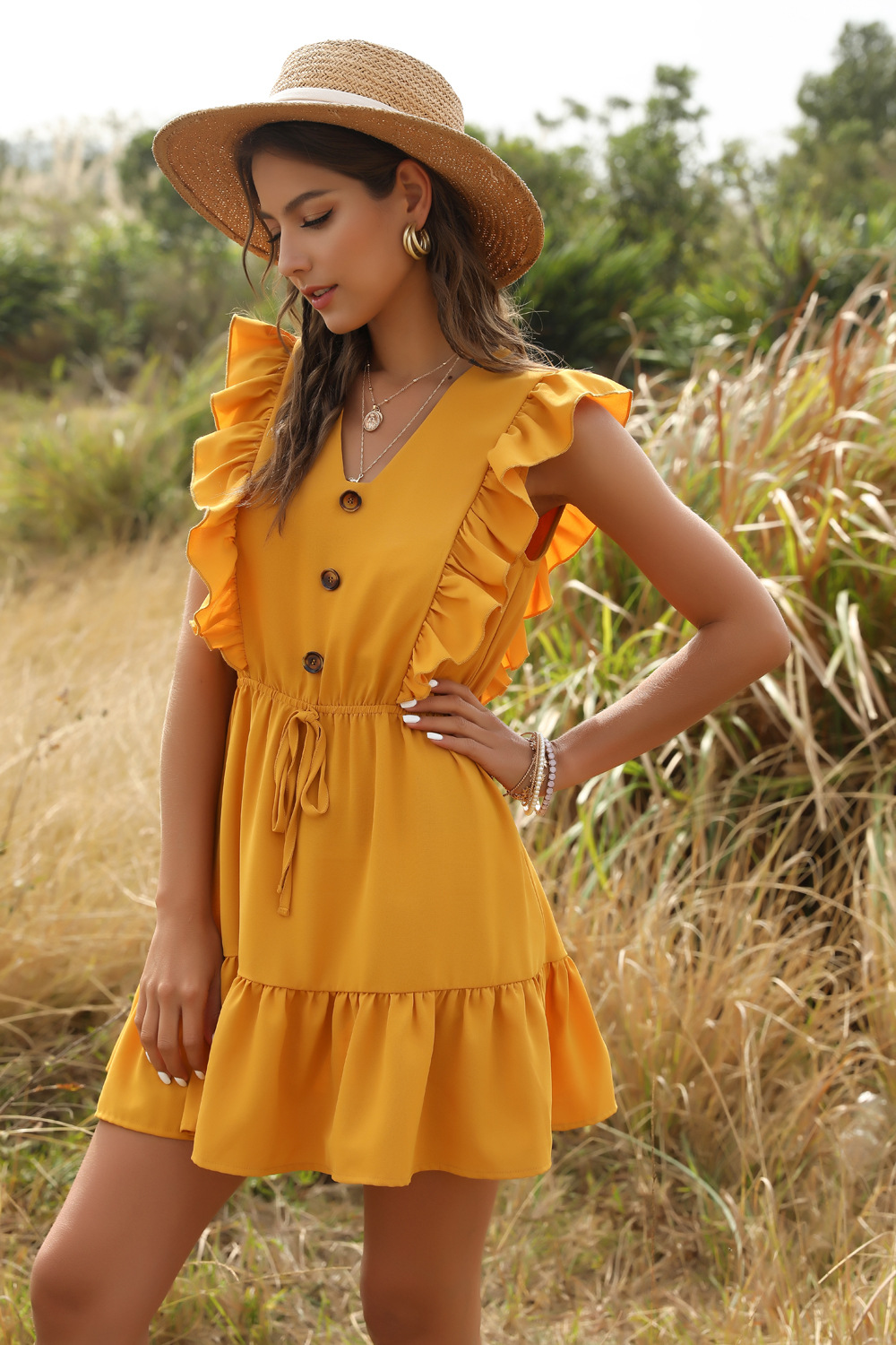 New fashion yellow V-neck ruffle frill lace dress wholesale NHDF204861