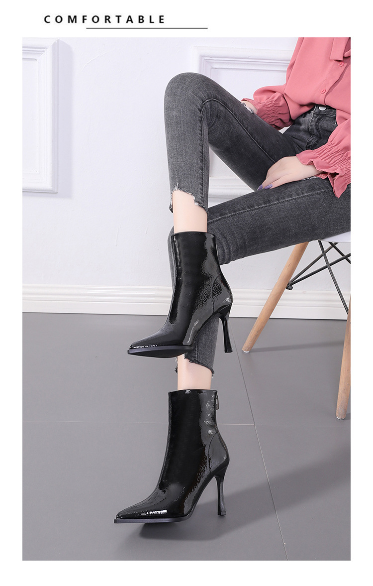 Fine-heeled pointed short boots women's black sexy high-heeled boots women's paint Martin boots NHCA269040