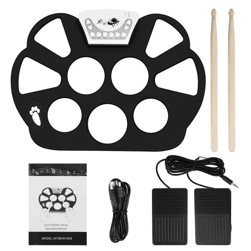 KONIX手卷架子鼓W758 便携式初学入门儿童打击乐器跨境批发