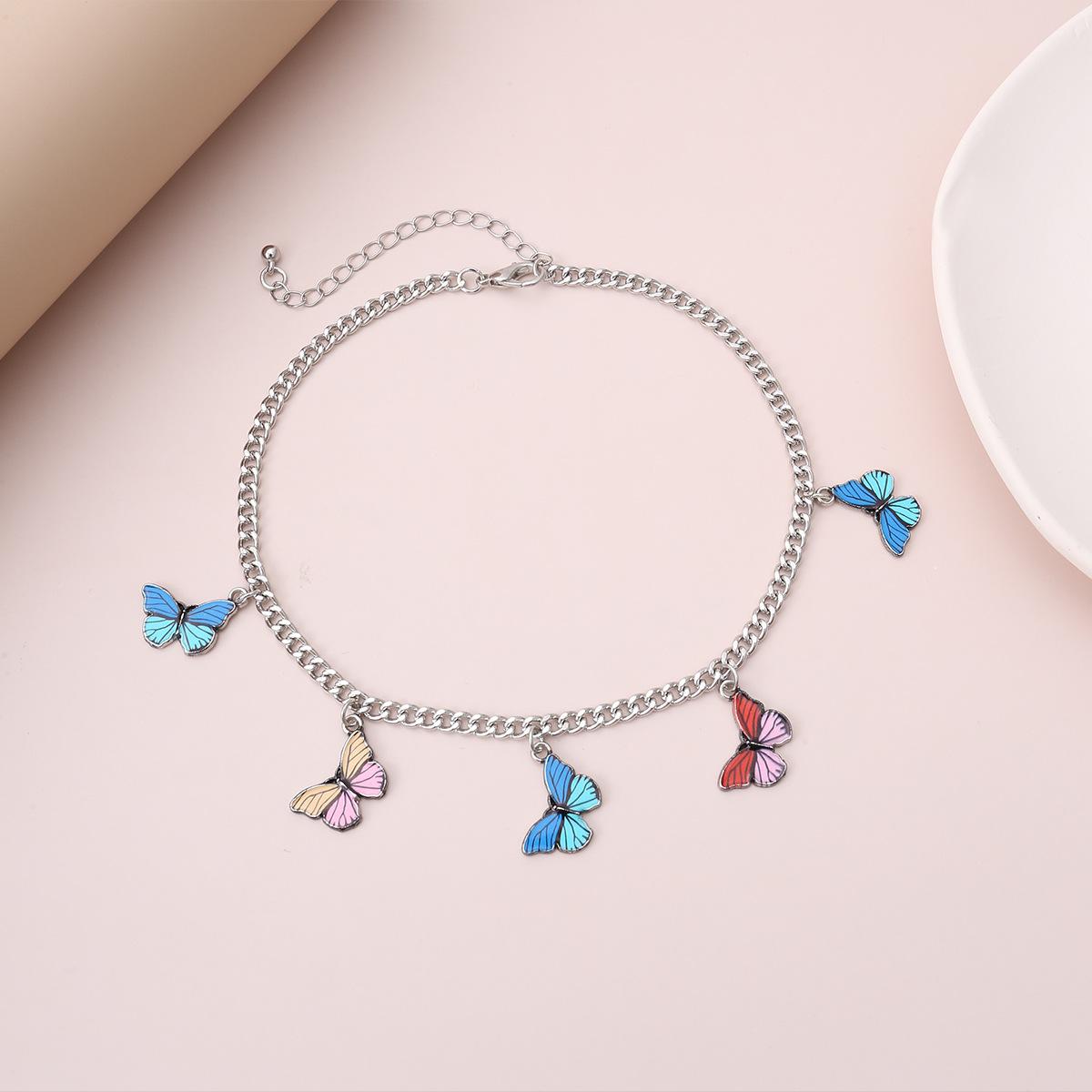 jewelry design frosty style necklace feminine butterfly contrast color tassel pendant necklace wholesale nihaojewelry NHXR229173