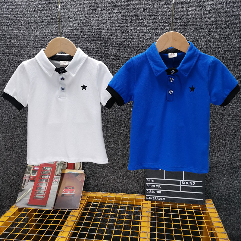 Short Sleeved Polo Shirts Korean Version Of The Lapel T-Shirt For Children'S Casual Top