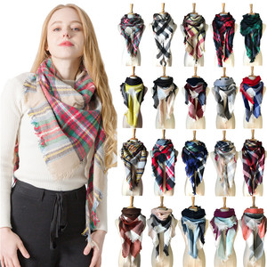 Seasonal cashmere double-sided colorful Plaid square scarf triangle scarf women neck shawl