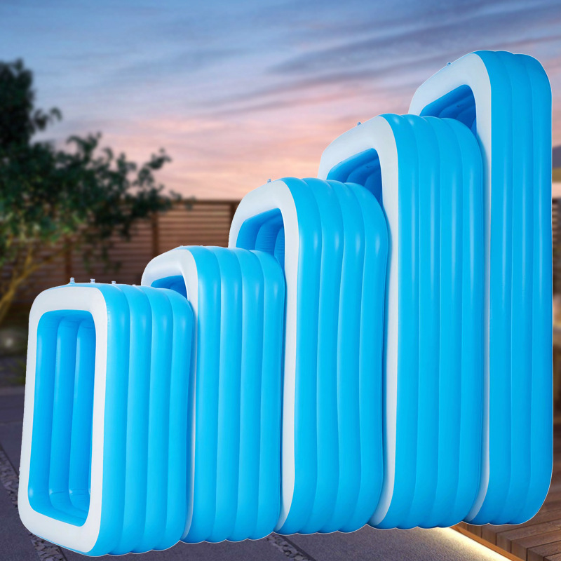 加厚PVC蓝白长方形充气游泳池 儿童洗澡水池家用户外大型家庭泳池