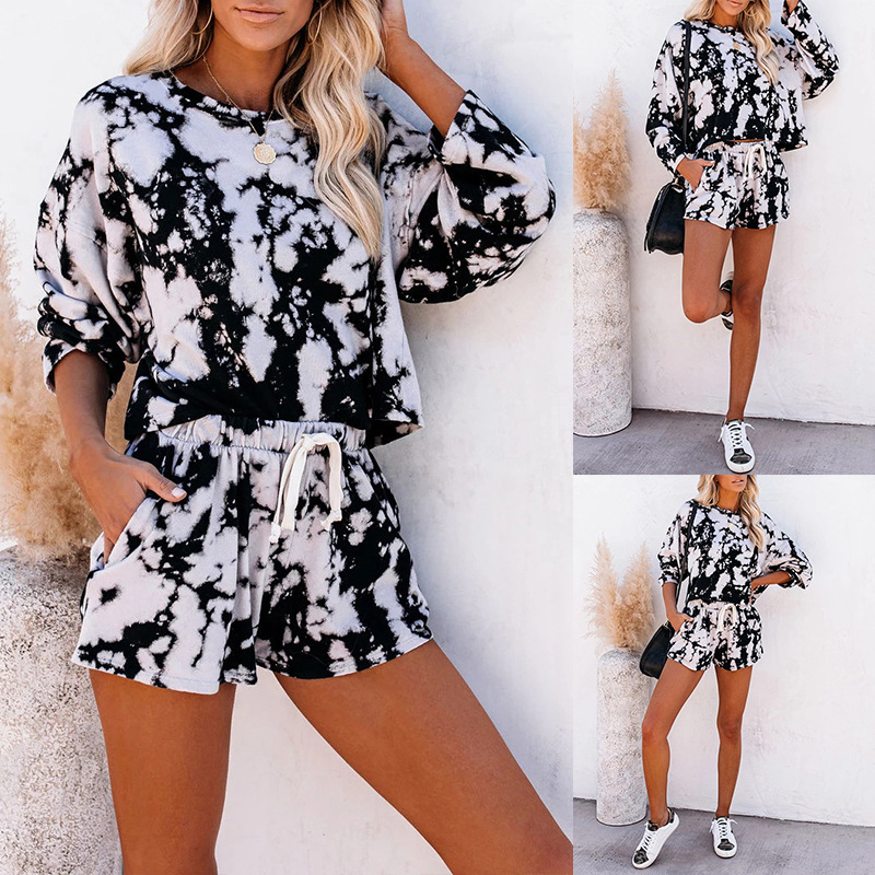 new women's home service two-piece summer tie-dye printing long-sleeved pajamas NSKX5931