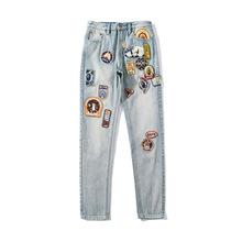 日系潮牌超多標徽章水洗牛仔褲青少年學生秋冬爆款時尚新款長褲