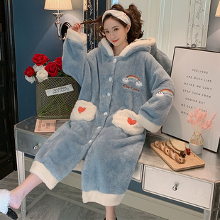 Nightgown women winter thick coral fleece long pajamas women winter flannel bathrobe sweet and cute home service