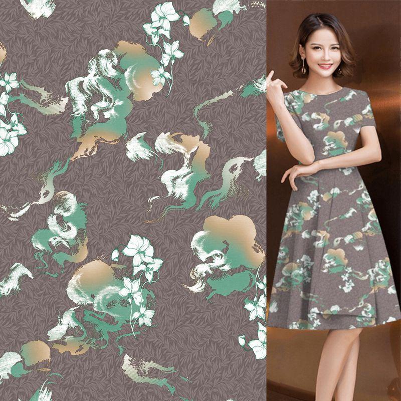 春秋女装时尚艺术色彩云朵花绒缎印花布 连衣裙睡衣家居服面料