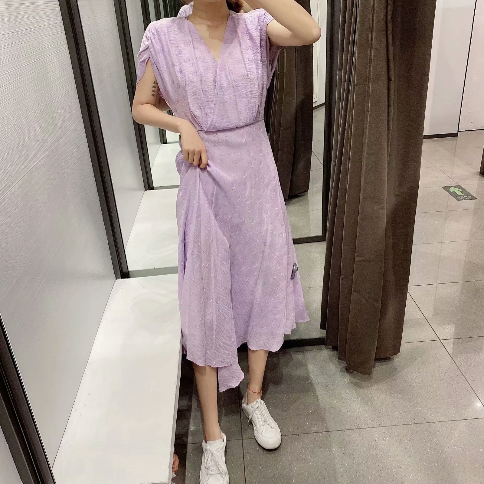 Wholesale Spring Festival Textured Midi V-neck Dress wholesales yiwu  suppliers china NHAM204799