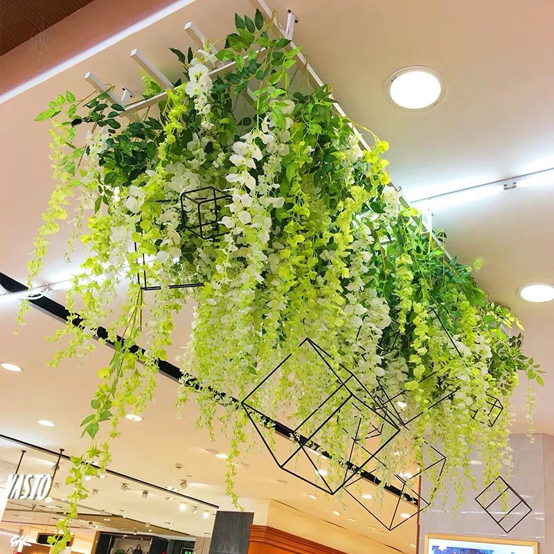 Spring Mall Meichen Decoration Automobile 4s Exhibition Hall Sky Strap Spring Simulation Wisteria Flower And Bean Flower Scene Arrangement