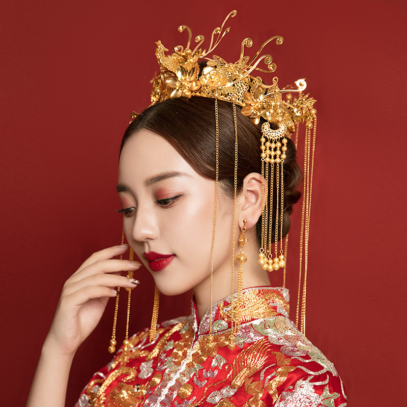 bride Xiuhe clothing headdress wedding Chinese he clothing hair accessories antique hair crown golden crown headdress ancient costume