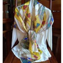 真絲圍巾女秋冬禮盒裝純桑蠶絲絲巾緞面絲綢圍巾 黃色流蘇