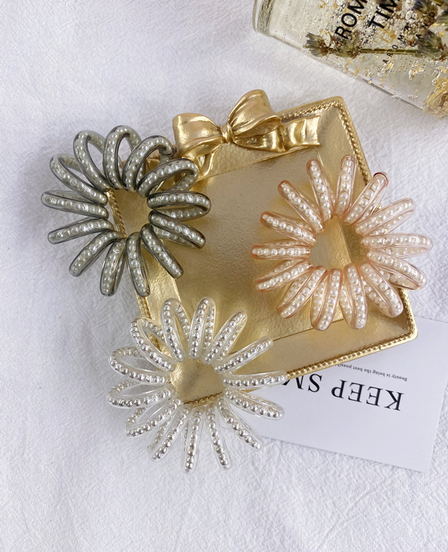 Korean hair scrunchies fashion pearl phone line hair ring large no trace no seam tie hair rubber band hair rope headdress wholesale nihaojewelry NHSM222221