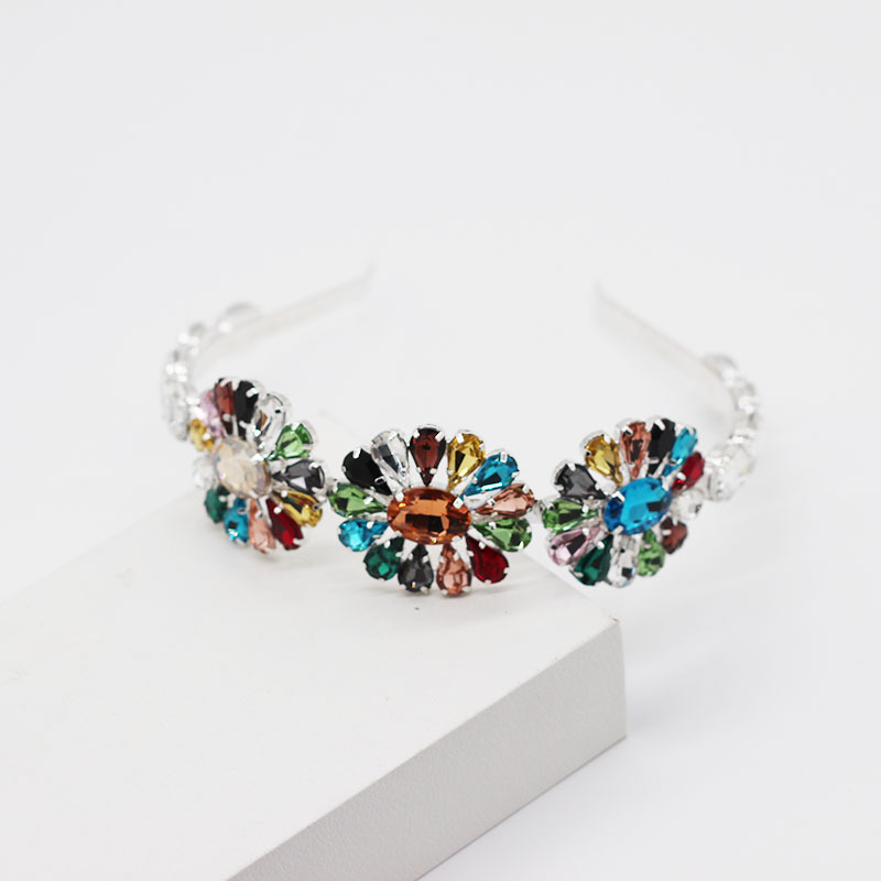 Fashion diamond-studded gem metal hair hoop ladies dance catwalk street shooting wild hair accessories NHWJ199396