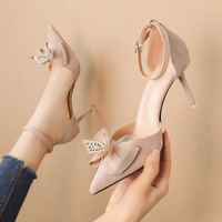 6719-1 han edition style light pointed mouth high-heeled shoes bowknot rhinestone sandals a word with thin and sexy women's shoes