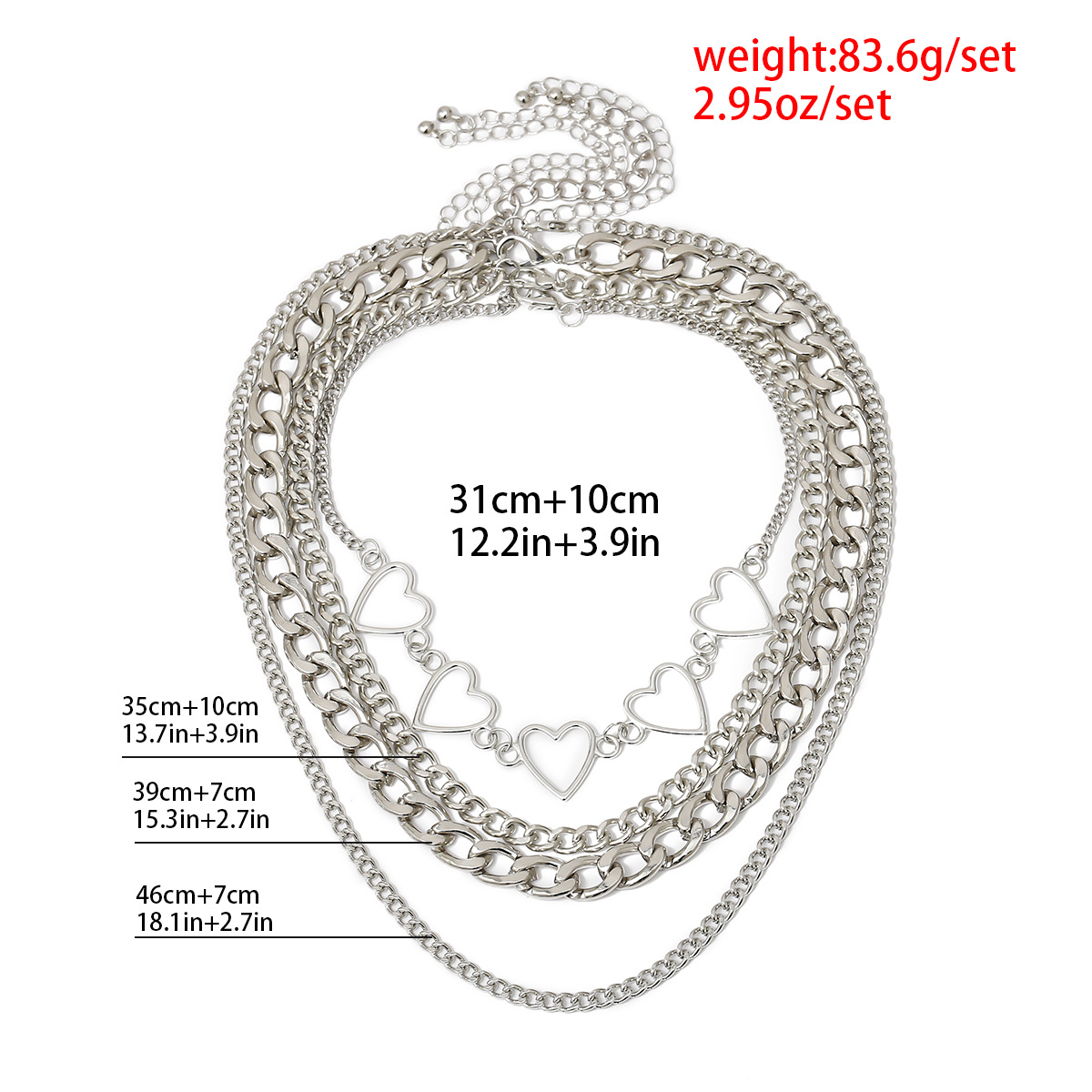 New fashion hip-hop geometric suit item decorated simple peach heart hollow multilayer chain necklace women NHXR204531