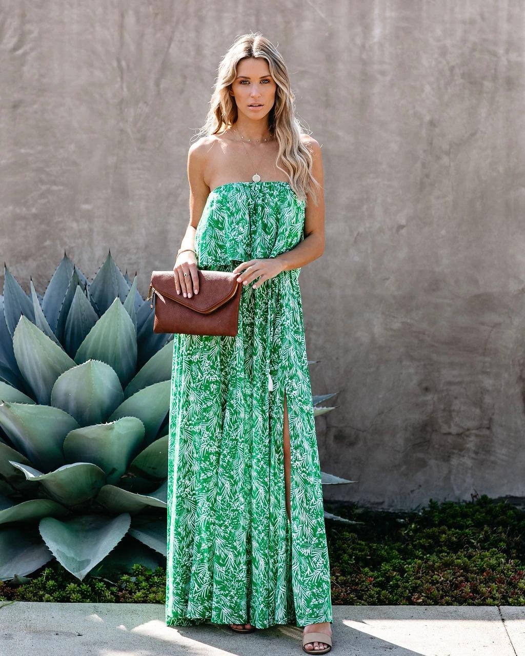 new leaf printing off-shoulder ruffled dress NSYD3860