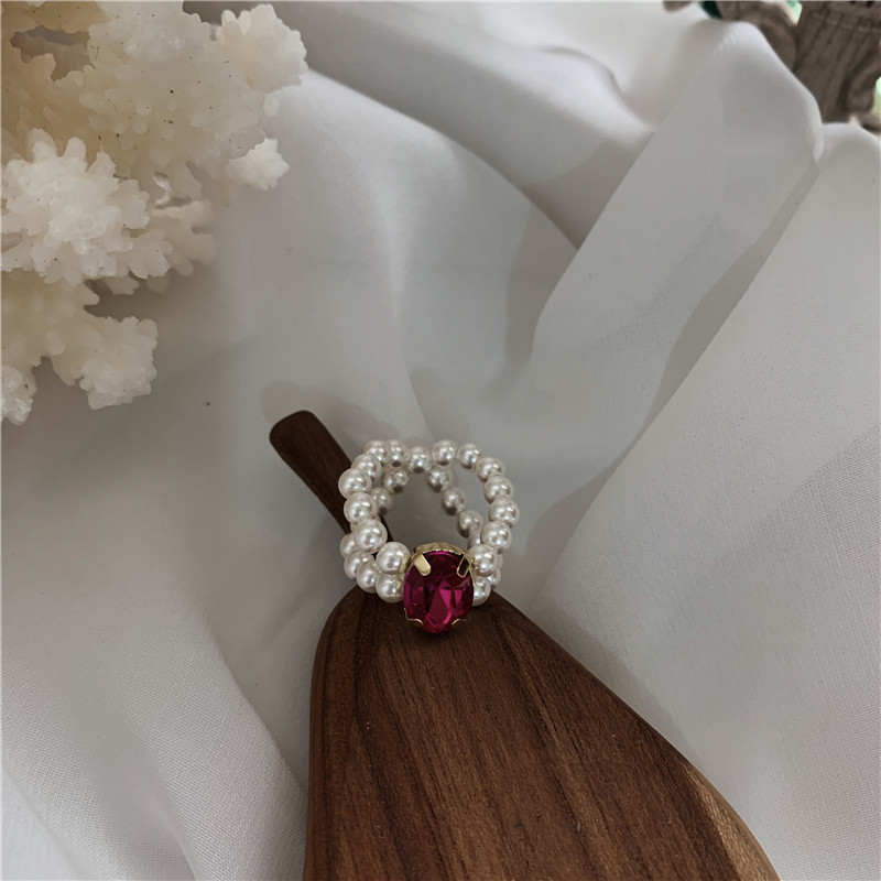 Summer sparkling color diamond pearl rings women South Korea niche hand-knitted anti-pearl fun adjustable ring ring NHYQ220349