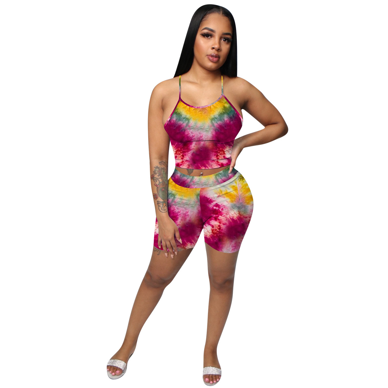 Details about  /Woman Mask Suit Colorfull Tie Dye Printed Sleeveless Crop Vest+Shorts Pant