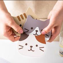 猫咪可爱杯垫PVC硅胶杯垫隔热垫防滑垫碗垫餐垫厂家直销
