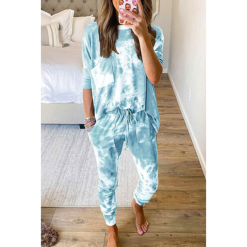 Spot the new cross-border European and American women's Amazon autumn hot style loose long-sleeved printing casual suit OM9405 NSKX5942