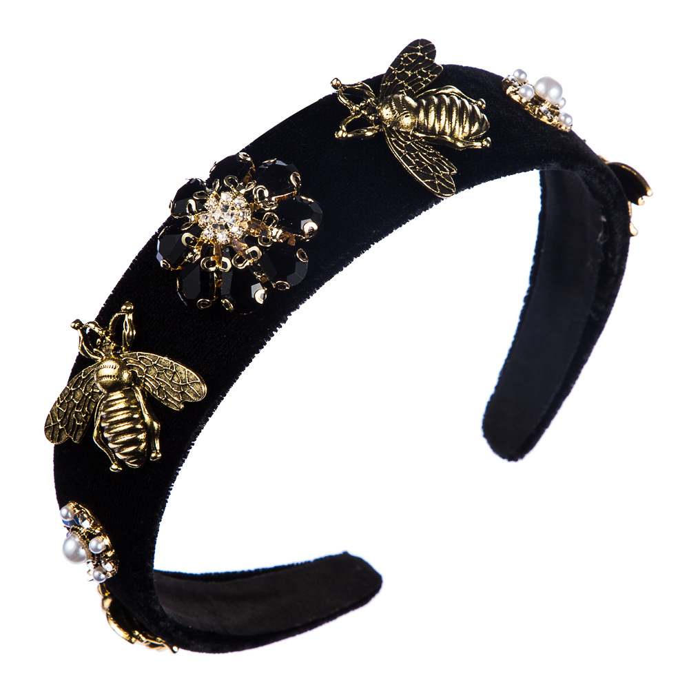 Fashion Baroque Headband Bee Wide Edge Gold Velvet Diamond Headband Wholesale NHLN197862