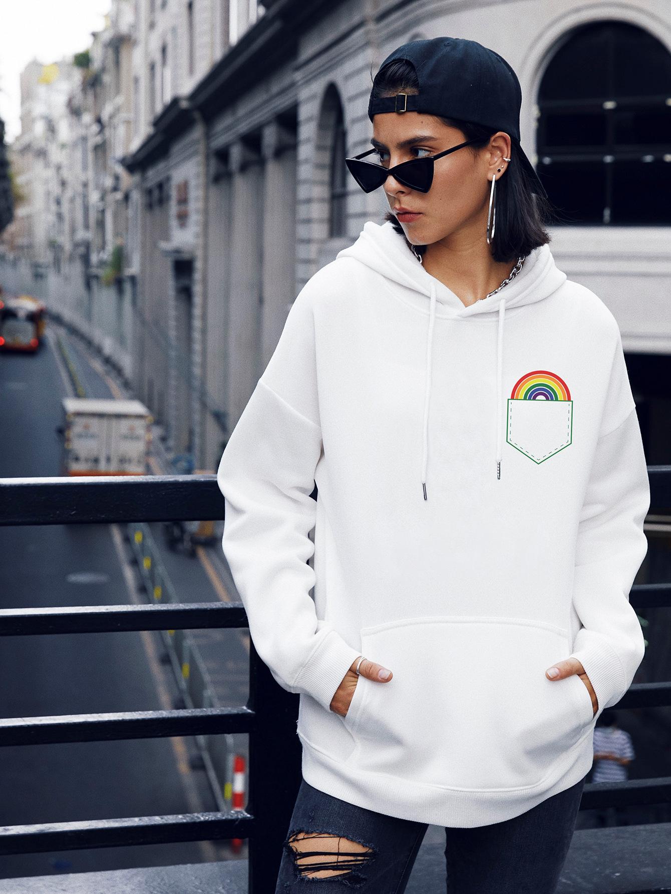 winter women's popular pocket rainbow casual hooded sweater NSSN1861