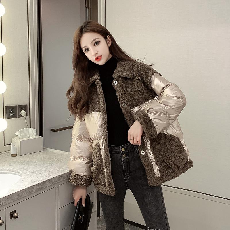 2020冬装新款时尚韩版羊羔毛拼接亮面厚实棉衣洋气翻领宽松棉服女