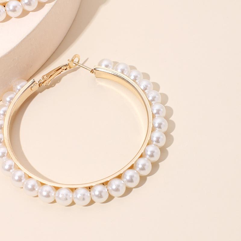 Fashion exaggerated geometric big circle pearl tide fashion earrings ear jewelry for women NHRN240958