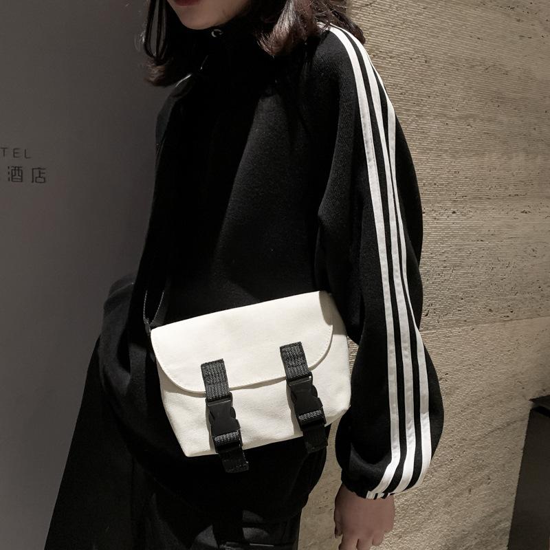 女包2020时尚文艺新款帆布单肩包韩版双皮带斜跨水洗帆布小包女包