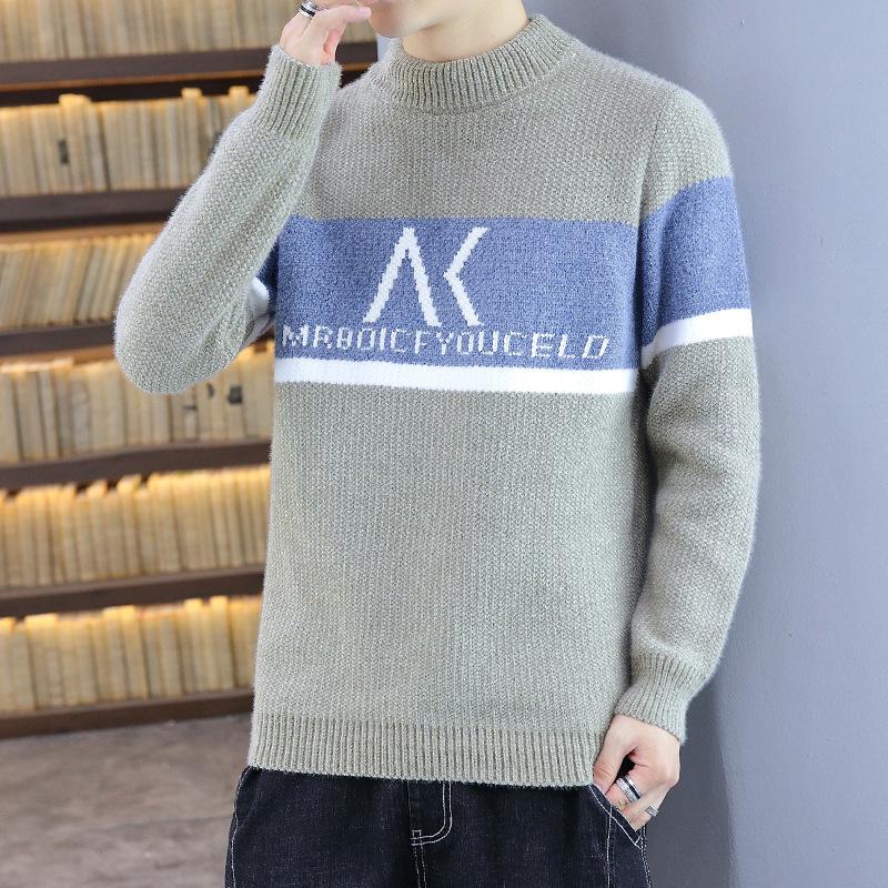 三岛服饰 2021新款青年森系保暖毛衣圆领 休闲男装韩版提花针织衫