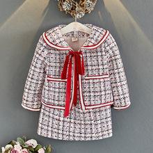 CM秋冬季新款韩版女童洋气小香风套装儿童宝宝格子外套短裙两件套