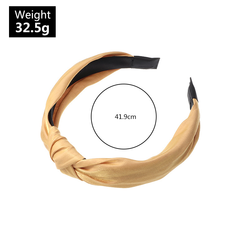 Simple wide-sided knotted fashion new pure color fabric pearlescent ladies headband wholesale NHAU240859