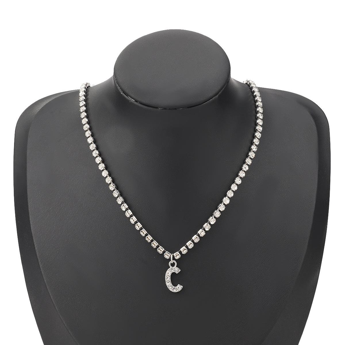 fashion simple acrylic diamond letter C pendant necklace NHJE274776