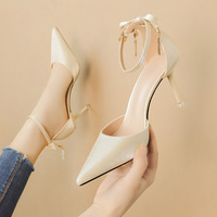 6719-3 web celebrity fashion diamond pointed high-heeled shoes one word with shallow mouth with sexy sandals fine professional OL for women's shoes